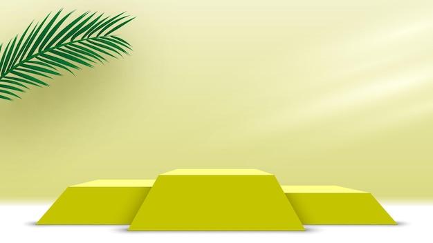 Podium z liśćmi palmowymi żółte produkty na cokole platforma wyświetlania 3d render stage