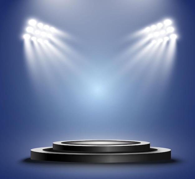 Podium z reflektorami stadionowymi