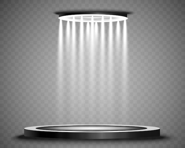 Podium z reflektorem na ciemnym tle, pierwsze miejsce, sława i popularność. ilustracja. realistyczne podium oświetlone reflektorami.