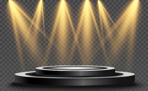 Podium z reflektorem na ciemnym tle, pierwsze miejsce, sława i popularność. realistyczne podium oświetlone reflektorami.