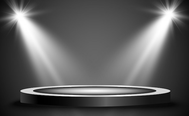 Podium z reflektorem na ciemnym tle, pierwsze miejsce, sława i popularność.