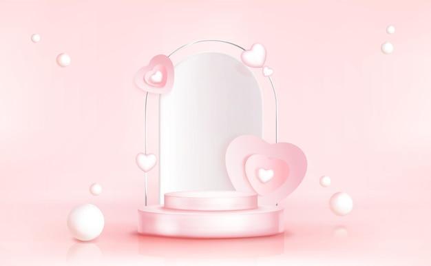 Podium z sercami i kulami