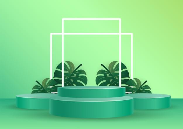 Podium z tropikalnymi liśćmi nakładki cienia wektor ilustracja