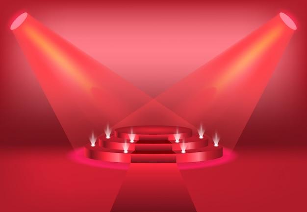 Podium z zasłoną w kolorze jasnoczerwonym