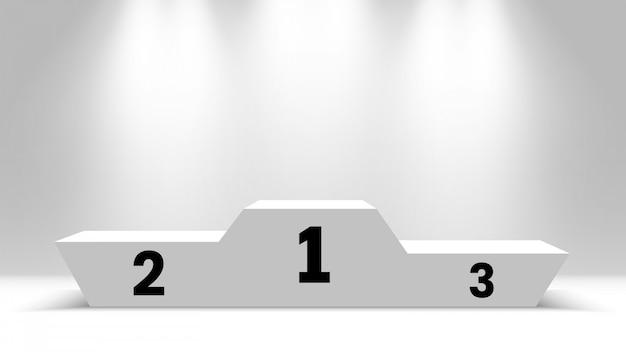Podium zwycięzców w białym pokoju. cokół z reflektorami. ilustracja.