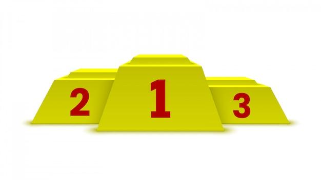 Podium zwycięzców w kolorze żółtym. piedestał.