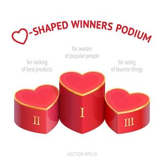 Podium zwycięzców w kształcie trzech serc. ocena miłości. postument 3d dla awatarów popularnych osób i blogerów zbierających lajki. szablon rankingu najlepszych produktów i ulubionych rzeczy.