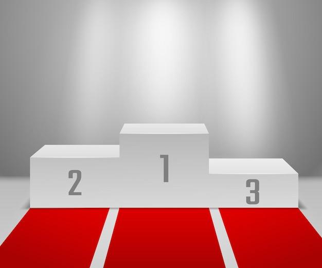 Podium zwycięzców z czerwonym dywanem. pusty biały cokół dla zwycięzców z reflektorami, pierwsze, drugie i trzecie miejsce. koncepcja zwycięzcy ceremonii wręczenia nagród
