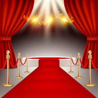 Podium zwycięzców z realistyczną ilustracją wektorową czerwonego dywanu