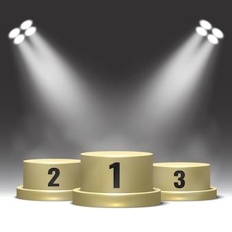 Podium Zwycięzców Z Reflektorami. Piedestał. Premium Wektorów