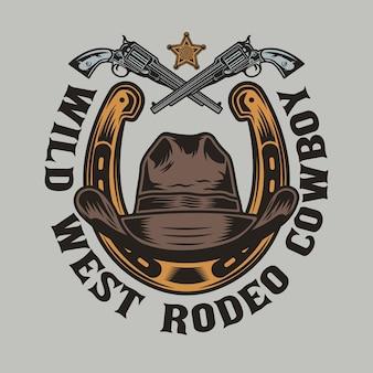 Podkowa i kowbojski kapelusz z bronią