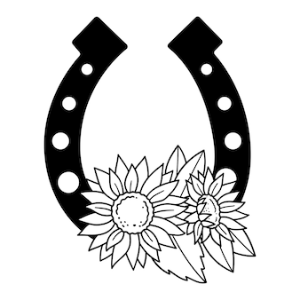 Podkowa i słonecznik monogram zarys rysowania linii ilustracji wektorowych