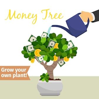 Podlewanie dłoni drzewo pieniędzy