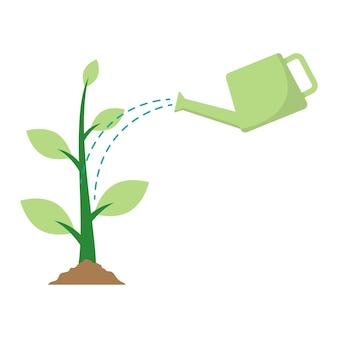 Podlewanie ilustracji wektorowych wzrostu roślin na białym tle