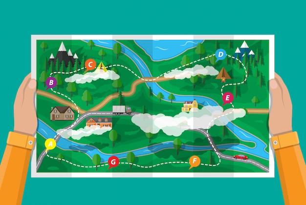 Podmiejska papierowa mapa przyrody. gps i nawigacja