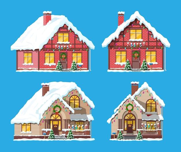 Podmiejski dom pokryte śniegiem ilustracja