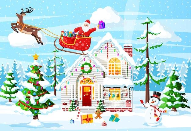 Podmiejski dom pokryty śniegiem. budynek w ozdobie świątecznej. boże narodzenie drzewo krajobraz, snowman santa sleigh renifery. dekoracja nowego roku. wesołych świąt bożego narodzenia obchody bożego narodzenia. ilustracja wektorowa