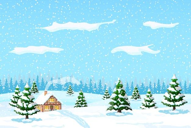 Podmiejski dom pokryty śniegiem.