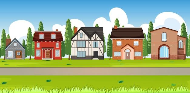 Podmiejski krajobraz z wieloma domami