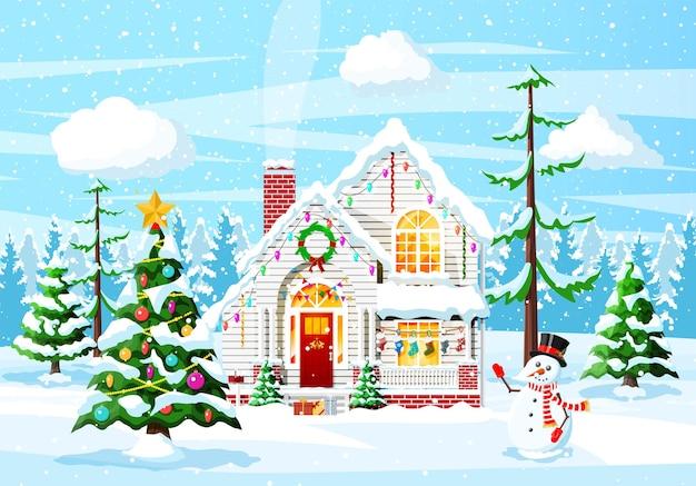 Podmiejskie domy pokryte śniegiem. budynek w ozdobie świątecznej. boże narodzenie drzewo świerk krajobraz, bałwan. szczęśliwego nowego roku ozdoba. wesołych świąt bożego narodzenia. obchody bożego narodzenia nowego roku. ilustracja wektorowa