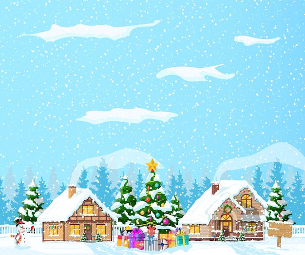 Podmiejskie domy pokryte śniegiem. budynek w świątecznym ornamentie. choinka krajobraz świerk, bałwan. dekoracja szczęśliwego nowego roku. wesołych świąt bożego narodzenia. boże narodzenie nowego roku.