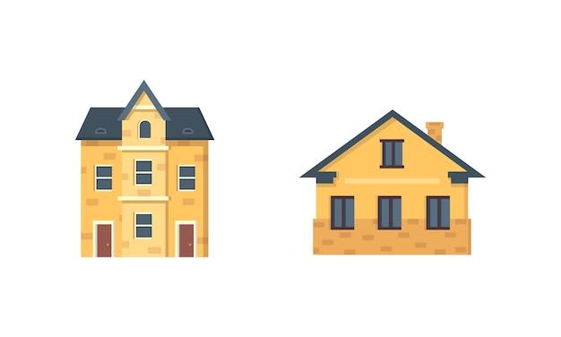 Podmiejskie domy prywatne. dom na zewnątrz. zestaw ikon budynku miejskiego.