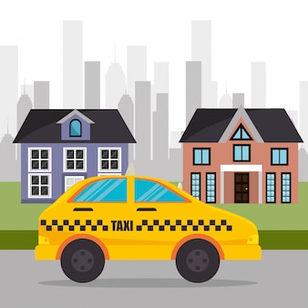 Podmiejskie miasto usług taksówkowych