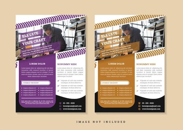 Podnieś swój szablon projektu ulotki rzemieślniczej, użyj układu pionowego z kombinacją fioletowo-brązowo-czarnego