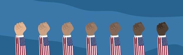 Podniesiona amerykańska flaga usa ilustracja pięść
