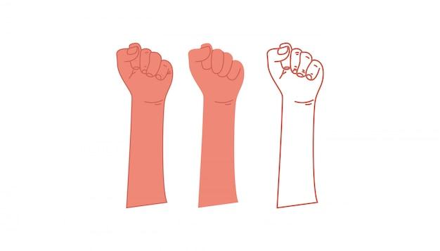 Podniesiona pięść. symbol wolności, walki, rewolucji, jedności, siły i walki. wektor