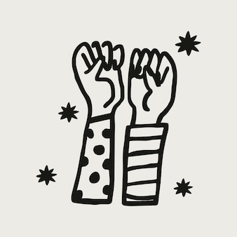 Podniesione ręce solidarności naklejki kolaż wektor elementu, koncepcja wzmocnienia pozycji