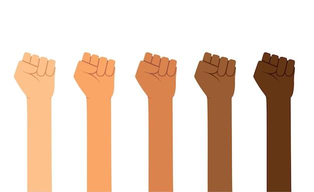 Podnoszą się pięści w różnych kolorach skóry. wzmacniając, ludzie mają rację