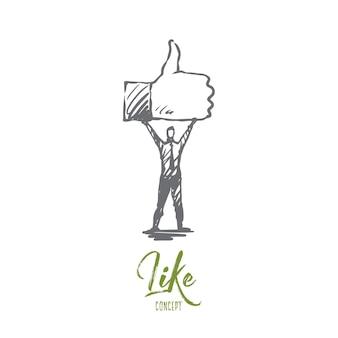 Podobnie jak symbol, dobry, sieć, koncepcja palca. ręcznie rysowane osoba posiada symbol podobny szkic koncepcyjny.