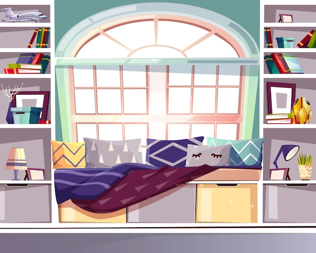 Podpalana łęku okno siedzenie biblioteki ilustracja w domu. wnętrze w stylu francuskim prowansji