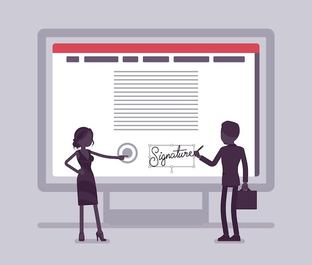 Podpis elektroniczny na ekranie komputera. technologia podpisu elektronicznego dla męskiego i żeńskiego partnerstwa biznesowego podpisuje umowę, bezpieczne dane e-commerce w formie elektronicznej. ilustracja wektorowa, postacie bez twarzy