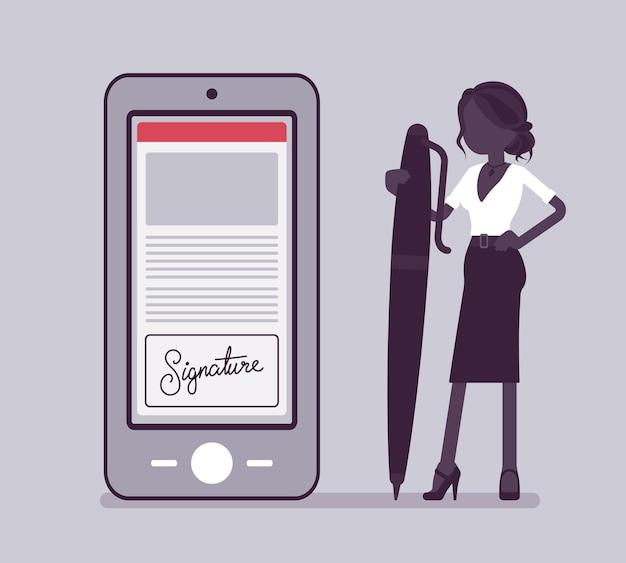 Podpis elektroniczny na smartfonie, menedżerka z piórem. technologia business esignature, elektronicznie przesyłany dokument w formie cyfrowej do podpisania umowy. ilustracja wektorowa, postać bez twarzy
