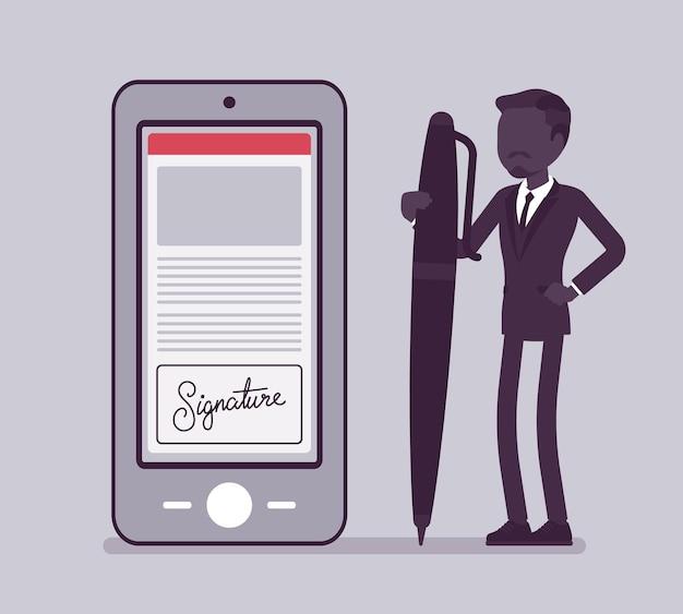 Podpis elektroniczny na smartfonie, męski menedżer z piórem. technologia business esignature, elektronicznie przesyłany dokument w formie cyfrowej do podpisania umowy. ilustracja wektorowa, postać bez twarzy