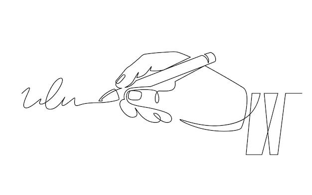 Podpis i ręka. podpisywanie dokumentu, ręka z piórem podpisana umowa. uwierzytelnianie osoby, autograf, koncepcja wektor linii ciągłej transakcji. długopis z podpisem, ilustracja umowy o pracę