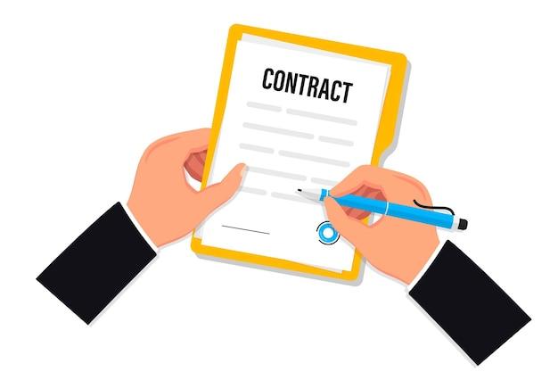 Podpisanie umowy biznesmen trzyma dokument i podpisuje umowę podpisanie umowy o pracę