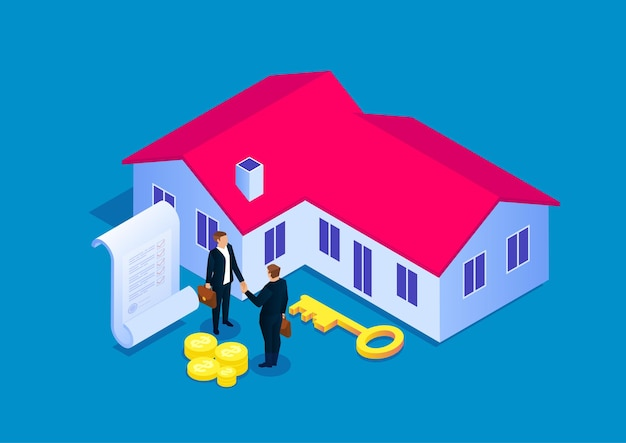 Podpisanie umowy na zakup domu, transakcja sprzedaży nieruchomości, ilustracja