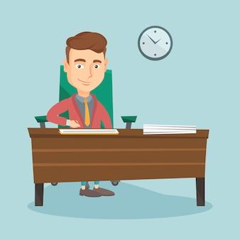 Podpisywanie dokumentów biznesowych ilustracji wektorowych.