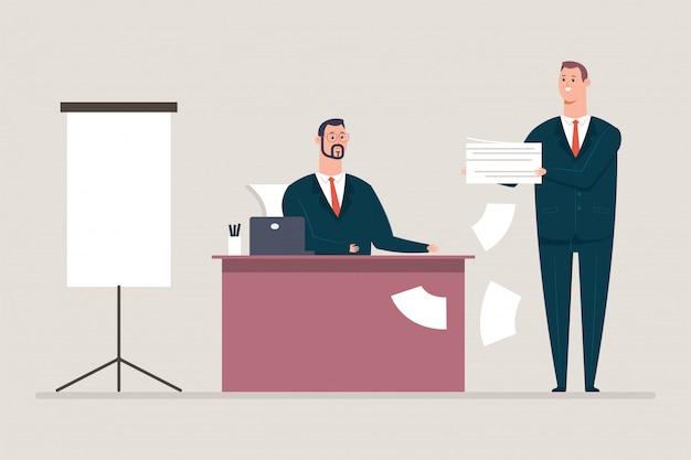 Podpisywanie dokumentów i umów. postać z kreskówki biznesmen i mężczyzna sekretarz. biurowa pojęcie ilustracja odizolowywająca na tle.