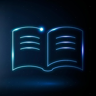 Podręcznik edukacji ikona wektor niebieski grafika technologii e-book
