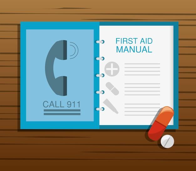 Podręcznik pierwszej pomocy z pigułką i lekiem