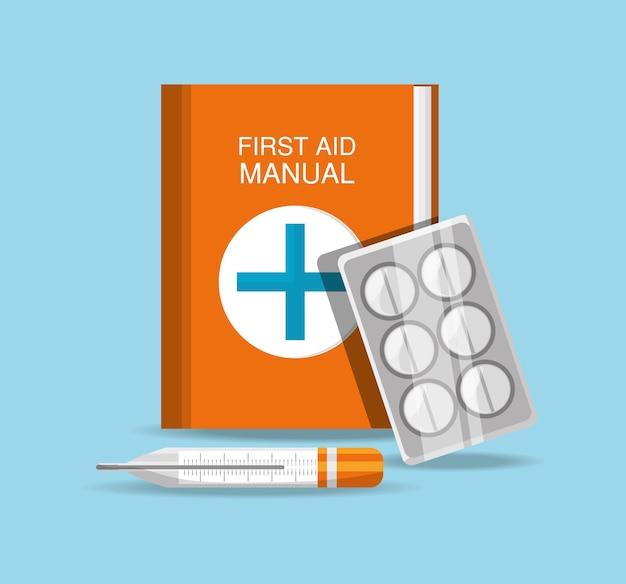 Podręcznik pierwszej pomocy z pigułkami i termometrem