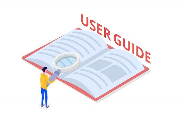 Podręcznik użytkownika, przewodnik, instrukcja, przewodnik, koncepcja izometryczna podręcznika. ilustracja.