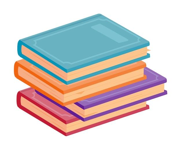 Podręcznik w twardej oprawie, słownik, stos encyklopedii na białym tle