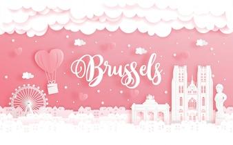Podróż poślubna i koncepcja Walentynek z podróżą do Brukseli, Belgii i światowej sławy punktem orientacyjnym