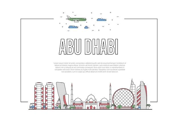 Podróż abu dhabi szablon w stylu liniowym