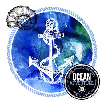 Podróż akwarela tło. morski projekt nautyczny. ręcznie rysowane teksturowanej szkic ilustracji wektorowych. projekt typograficzny